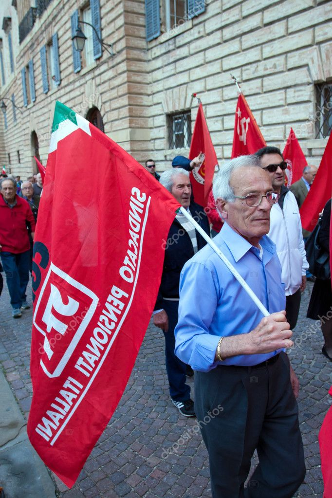 Gubbio, Umbria - Italy - May 1 - 2012 - Demonstration pensioners in the city center  Stock Photo #10487225