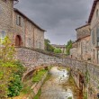 River in the historic center of Gubbio in hdr — Stock Photo