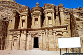 Billboard in the Monastery in Petra Jordan — Stock Photo