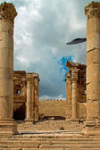 Columns of the ruins of Jerash, Jordan with a UFO sighting — Stock Photo
