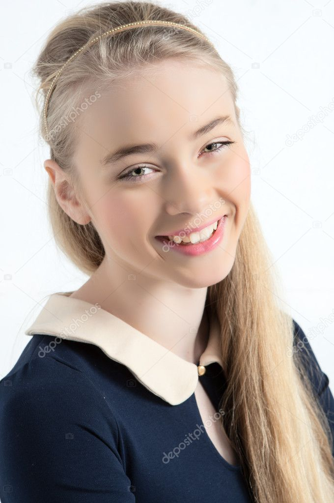 Happy Teen By Crumbling Wall Stock Image: Happy Teen Ager Girl Smiling Portrait