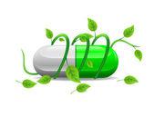 Green stem twists icon green white pill — Stock Photo