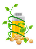 Bottiglia gialla avvolta con gambo verde — Foto Stock