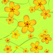 Yellow flowers on abstract green background - Stock Photo