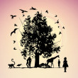 Fantastic picture with animals and the tree — 图库照片