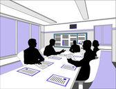 Vijf business onderhandelen aan de tafel — Stockfoto