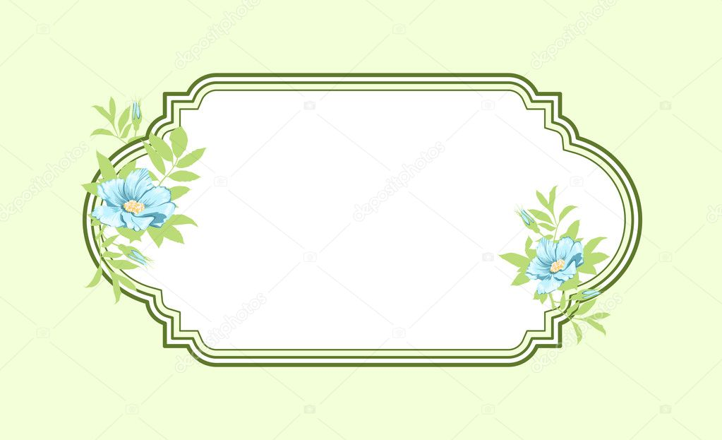 Classic hand drawn oval green frame with light blue roses — Stock Photo #10553713