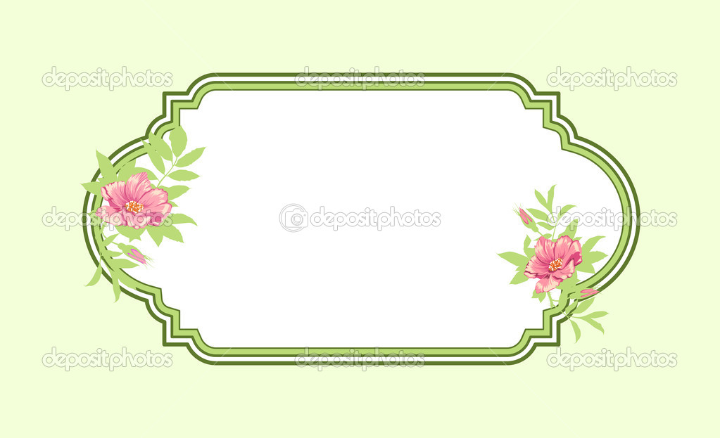 Classic hand drawn oval green frame with roses — Stock Photo #10553718