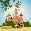 Domes of the famous Head of St. Basil's Cathedral on Red square — Stock Photo