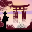 Geisha and Mount Fuji — Stock Photo