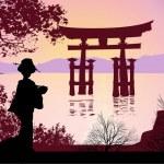 Geisha and Mount Fuji — Stock Photo