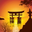 Stock Photo: Lake with Torii Gate