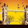 Old British Bridge with birds around — Stock Photo