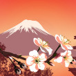 sakura mountains and japanese houses — Stock Photo