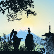 Stock Photo: Beautiful picture of geisha, mountains and trees