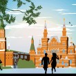 Boy and girl running in the red Square hand in hand — Stock Photo #10591108