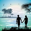 Stock Photo: Couple holding hands on beach going on ocean