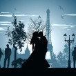 Man and woman kissing on a street in Paris - Stock Photo