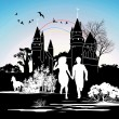 Silhouette running loving couple in front of the castle - Stock Photo