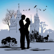 Young couple looking at each other against the backdrop of the castle — Stock Photo #10591454