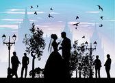 γαμπρός την νύφη πίνοντας σαμπάνια — Φωτογραφία Αρχείου