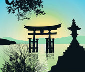 Evening Landscape in Japan with Tori-gate — Stock Photo