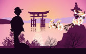 Geisha mountains in the background and the Japanese gate — Stock Photo