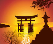 Lake with Torii Gate — Stock Photo