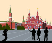 Tourists walk on Red Square — Stock Photo