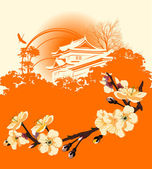 Card with a flower sakura and Japanese houses — Stock Photo