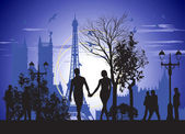 Couple in love walking on the streets of Paris — Stock Photo