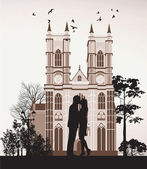 Man kissing woman near the Catholic Cathedral — Stock Photo