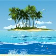 A tropical island in the ocean — Stock Vector