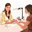 The girl doing a manicure — Stock Vector