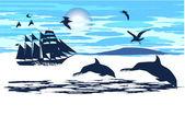 Dolphins accompanied the ship — Stock Vector