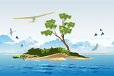 Hang glider over the island — Stock Vector