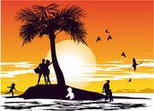 Isola paradiso — Vettoriale Stock