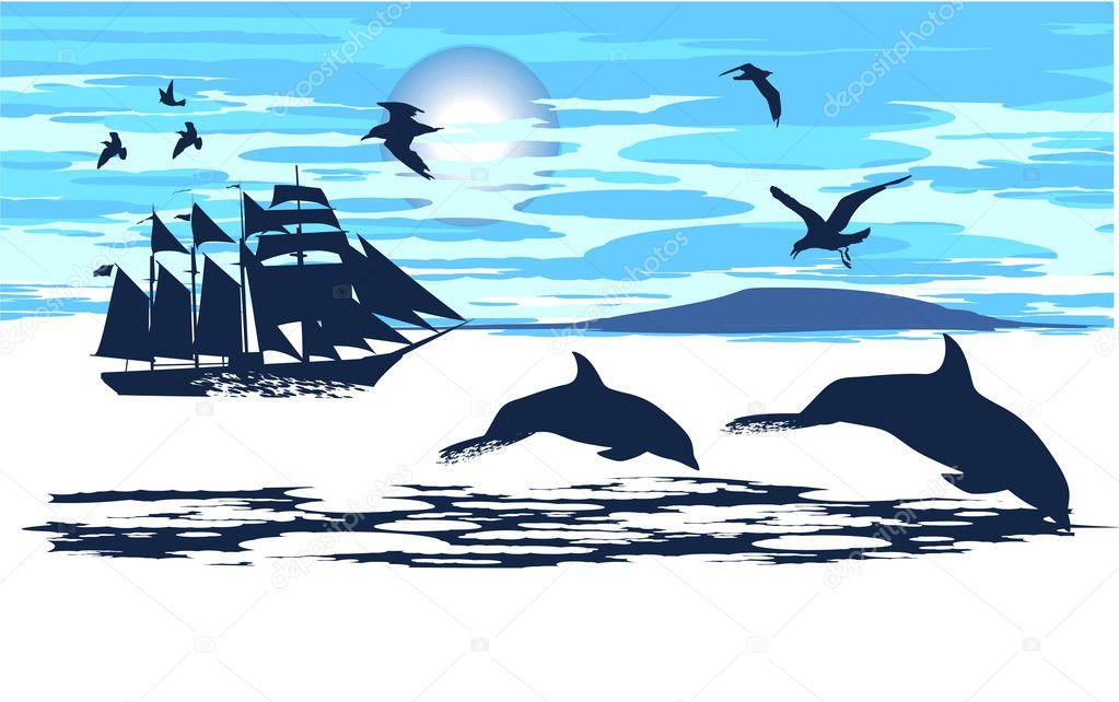Рисунок парусник и дельфинов
