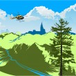 Helicopter flying over the green valley — Stock Vector