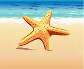 Starfish in the sand — Stock Vector