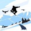 Stock Vector: Snowboard man jump on the mountains background