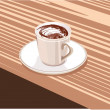 Royalty-Free Stock Vector Image: Cup of coffee is on the saucer