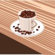 Royalty-Free Stock Vector Image: Cup with coffee beans on a white saucer is on the table
