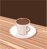 Cup of coffee on a saucer standing on a brown background — Stock Vector