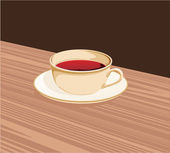 Cup of tea standing on a saucer on the table — Stock Vector