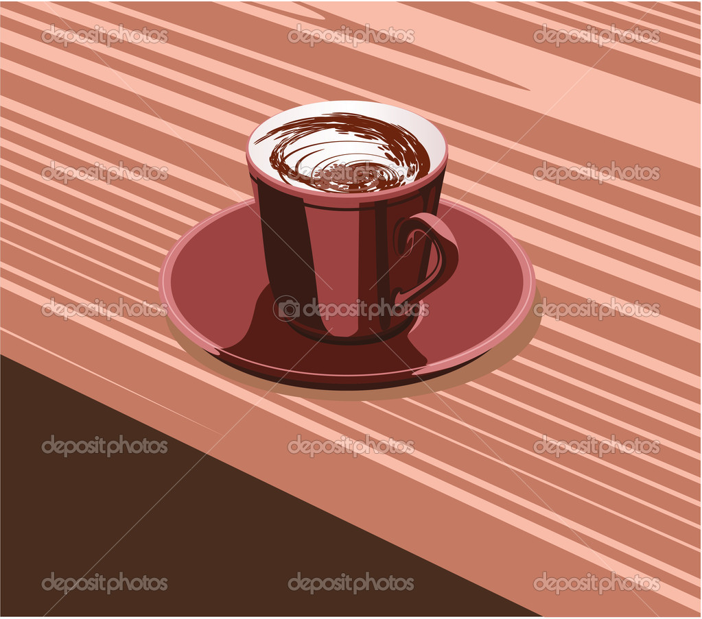 Scarlet cup of coffee is on the scarlet saucer — Stock Vector #9028501