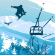 Snowboarder on background of mountains and ski lift — Stock Photo #9122861