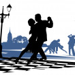 Couple in love dancing tango on the square — Stock Photo