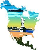 Statue de la liberté dans le fond d'une carte de l'amérique et de nouveaux — Photo