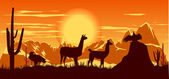Wild llama and birds on the hot orange sky background — Stock Photo